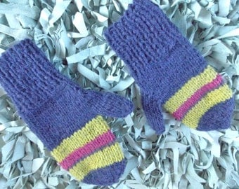 Purple Mittens, striped mittens, hand knit accessory, purple lime and pink hand warmers, alpaca mittens, old fashioned mitten, preppy stripe