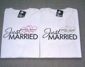 SALE - Just Married Personalized Pink and Gray Hearts Wedding T-Shirts : 2 Shirts For 30 Dollars