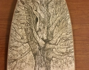 """Wooden Canoe Paddle, Sugar Maple """"Simplicity"""" with Original Pen & Ink Drawing of the Greene Family Tree"""