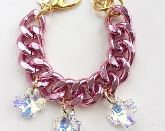 Pink Chunky Chain Swarovski Crosses , Pink jewelry