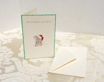 Vintage Mouse Christmas Card by Norcross Cards / Vintage Christmas Stationery / Card and Envelope