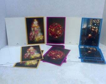 Vintage Hallmark Christmas Cards Unfolded / Purple Wreath Cards / Yellow Christmas Tree Cards / Blue Candle Cards