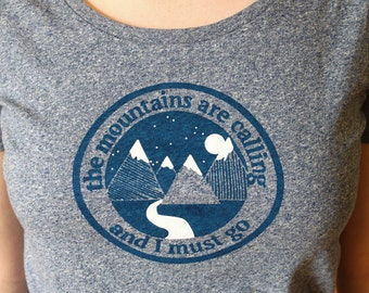Womens T Shirt Mountains Travel Gifts - Women's Travel T Shirt - Hiking T Shirt -  Ethical T Shirt - Organic Cotton - Backpacking