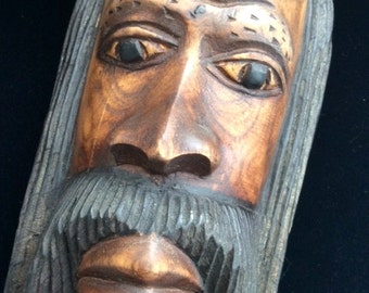 Wooden Carved Man Wooden Spirit Tribal Man Vintage Hand Carved Beautiful !