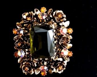 Vintage Austrian Brooch Large Beautiful ! Cosmetic Jewelry