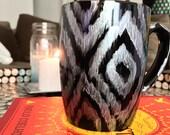 Hand Painted Mug - Ikat Silver  Mug - Mug Gift Idea