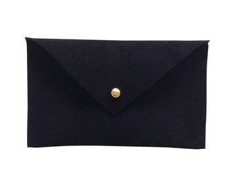 Black Leather Business Card Holder, Leather Wallet Mens, Minimalist Wallet, Best Leather Wallets, Envelope Coin Purse, in Suede Leather