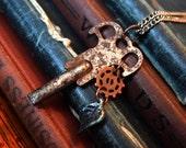 Steampunk Jewelry, Skeleton Key, Gear with Leaf, Leaf Jewelry, Antique Key, Gear Jewelry, Steampunk Necklace, Steampunk Fall Jewelry,