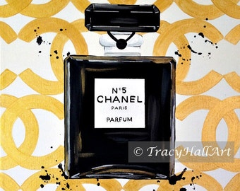 Chanel Perfume Art PRINT Chanel No. 5 Perfume Bottle Gold Black from original painting by Tracy Hall