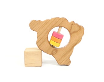 Hawaii State Big Island Baby Rattle™ - Modern Wooden Baby Toy - Organic and Natural