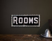"""Vintage Sign / 1920's / Original Reverse Glass """"Rooms"""" Chipped Glass Sign / Vintage Hotel Sign / Free Shipping"""