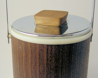 Mid Century Modern Ice Bucket Teak Handle Chrome Accents by Kromtex USA
