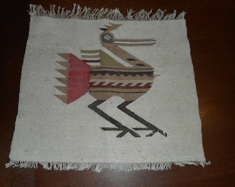 Wall Hanging, Woven, Vintage, Southwestern, Bird, Abstract, Fringe, Tribal, Rustic, Brown, Tan, Red