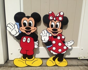 """24"""" Disney Mickey and Minnie Mouse Decoration - Birthday Party Decor - Wall Decor - Standee - Red Polka Dots"""