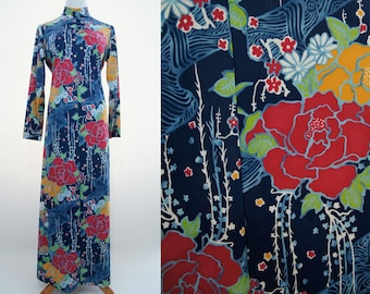 Psychedelic Dress/ Hostess Dress/ Vanity Fair mid-60s-70s Graphic Japanese Garden Nightgown/Dress