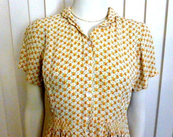 April Cornell Yellow Floral Dress Size Small