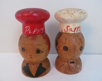 Vintage Wood Red and White Salt and Pepper Shakers Salte and Peppy