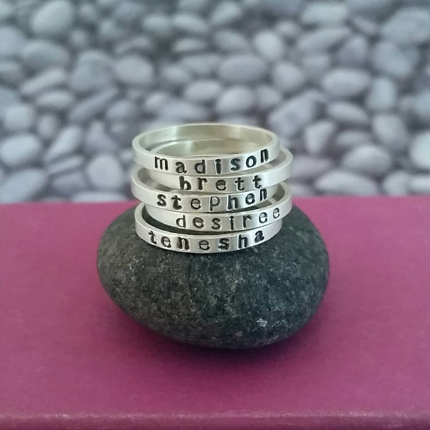 personalized skinny stacking name ring in sterling silver. Black Bedroom Furniture Sets. Home Design Ideas