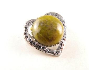 Vintage Heart Brooch Irish Mizpah Connemara Marble Signed Friendship Pin