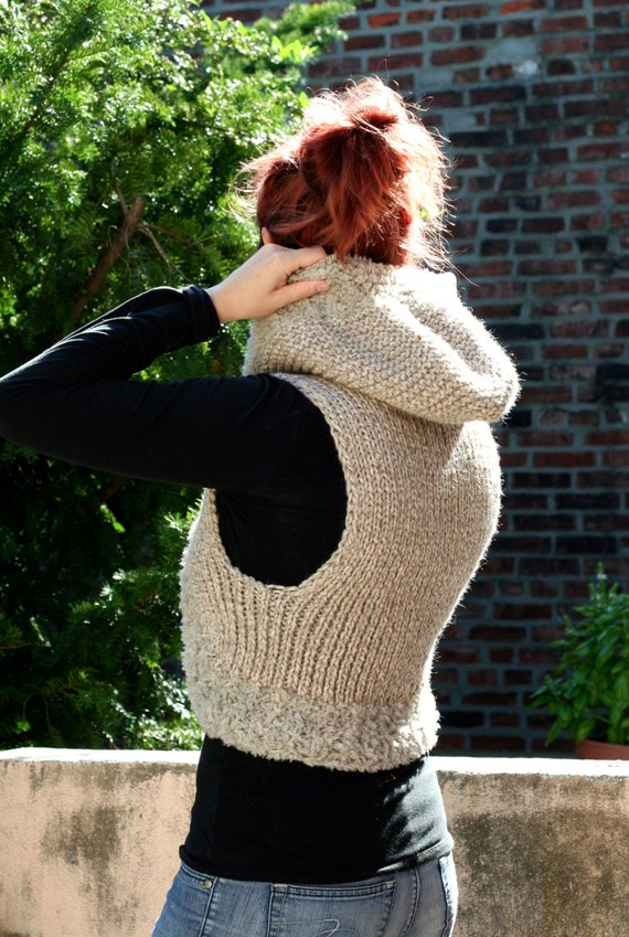 Knitting Pattern: The Genevieve Hooded Vest Bulky Wool Sleeveless Sweater Hoo...