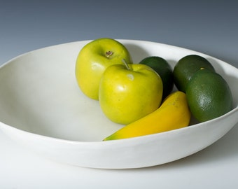 """12"""" - 13"""" Matte White Porcelain Display Bowl, Coffee Table, Fruit, Pottery Handmade Ceramic Oversize Centerpiece- ready to ship Wedding"""