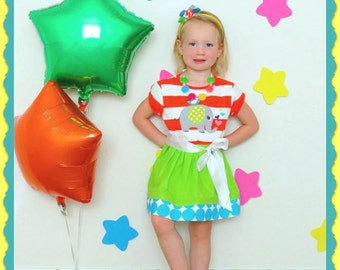 On Sale - The Ellie Dress - An  Appliquéd Elephant Dress - Includes Matching Necklace and Headband - Size 2, 3 and 5 - Free Ship