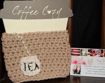 Crocheted Tea Cozy -- Coffee Cup Cozy,  Cotton & Acrylic, Travel Sleeve, Java Jacket, Latte or Mocha, Fits 12, 16 or 20 oz cups.