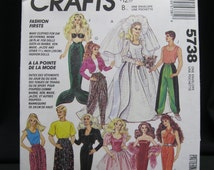 Retro 1992 Barbie, Ken, McCalls 5738/730, bridal ensemble, mermaid costume, dresses, casual pants and tops for both incl M C Hammer pant