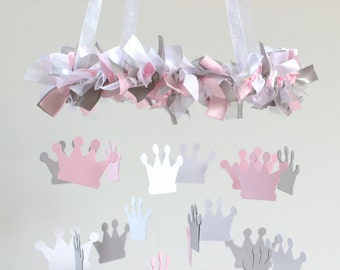 Princess Crown Nursery Mobile in Pink, Gray & White- Tiara Crown Mobile