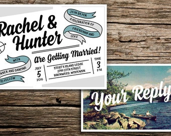 Retro Lake Wedding Invitation & Postcard RSVP // Camp Invitation Lake Wedding Outdoorsy Summer Camp Wisconsin Minnesota Canoe Gray Grey