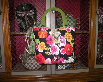 Multi-Colored Flowered Handbag with green handles