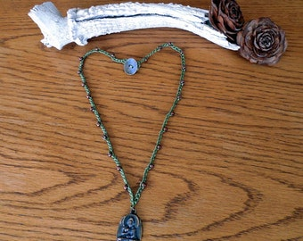 "Ready To Ship Hand Made 21"" Bead Crochet Pendant Necklace"