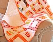 Modern Baby Girl Quilt, Window Pattern, Oh Deer by Moda