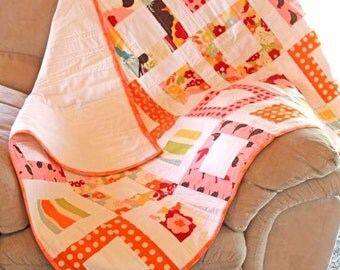 Modern Baby Girl Quilt, Window Pattern, Oh Deer by Moda