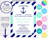 Nautical Baby Shower Invitation - Anchors Aweigh Away Mint Lime Green Teal Aqua Navy Stripes Girl Boy Diaper Raffle Ticket Book Request Card