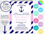 Nautical Baby Shower Invitation - Anchors Aweigh Away Pink Hot Yellow Purple Navy Ahoy Its A Girl Diaper Raffle Ticket Book Request Card