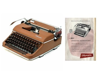 Olympia SM3 Portable Typewriter Instruction Manual Instant Download