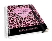"""personalized teacher lesson planner cover size 8X10"""" with notebook - glitter inspired heart with black and pink leopard print - AGK10 PROMO"""