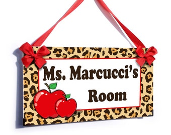 personalized teacher name classroom door sign - leopard red apples class wall plaque - P465