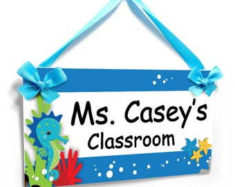 personalized ocean themed teachers classroom door sign - sea animals name plaque - P770