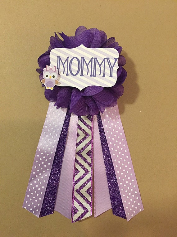 purple owl baby shower pin mommy to be pin flower ribbon pin corsage