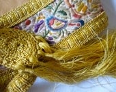 Unique antique hand embroidered silk belt/sash yellow silk tassels birds & flora c1910 one of a kind leather lining