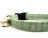 Cat Collar, SAGE GREEN, Small dog Collar, Handmade