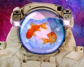 Space fishes,Poster,Digital print,art,artwork,fish,space,galaxy,home decor,geek,Astronaut,stars,Original