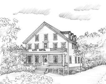 House Portrait, your home or business hand drawn and personalized in pen and ink, custom artwork from photos including mat