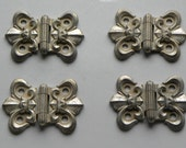 Vintage rare VERMONT Farmhouse Silver Patina Set of 4 Early Pattern Cupboard or Cabinet Hinges Never Used