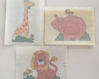 Babies & Kids - Genuine colour iron-on transfers circa 1970's, vintage craft
