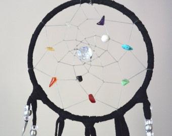 "Authentic Native American Rainbow Dream Catcher 4"" Diameter Black Leather"