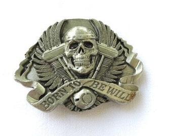 1995 skull biker born to be wild siskiyou belt buckle made in America Ashland Oregon live to ride /ride to live