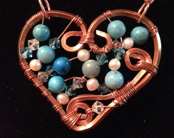 Copper Necklace with a Wire Wrapped Turquoise Heart Pendant